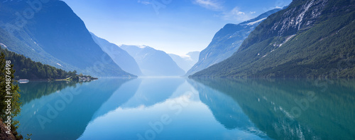 Printed kitchen splashbacks Mountains Lovatnet lake, Norway, Panoramic view