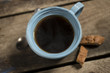 High Angle of Blue Cup Containing Warm Coffee or Tea