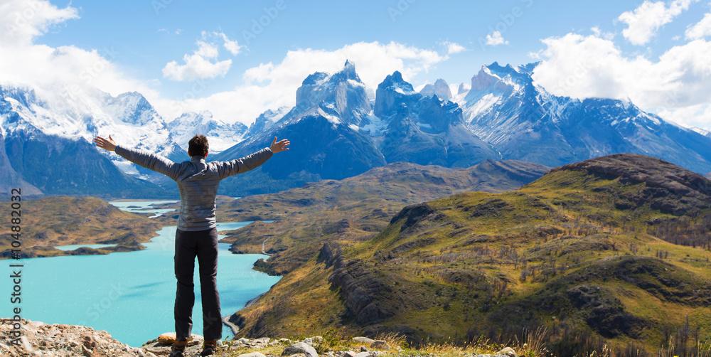Fototapety, obrazy: man hiking in patagonia