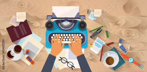 Fototapeta Hands Typing Text Writer Author Blog Typewrite Wooden Texture Desk Top Angle View obraz