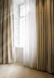 canvas print picture - Offenes Fenster mit Gardine
