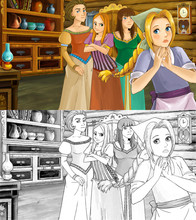 Cartoon Scene For Different Fairy Tales - Two Sisters Are Talking And Plotting With Mother - With Additional Coloring Page - Illustration For Children