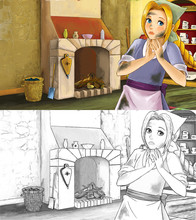 Cartoon Scene For Different Fairy Tales - Young Girl Dressed Dirty Standing And Listening In The Kitchen - With Additional Coloring Page - Illustration For Children