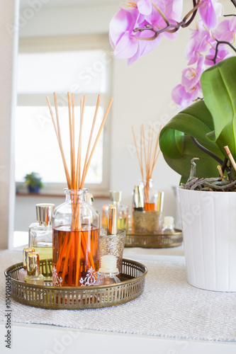 Photo  Aroma reed diffuser  in home interior