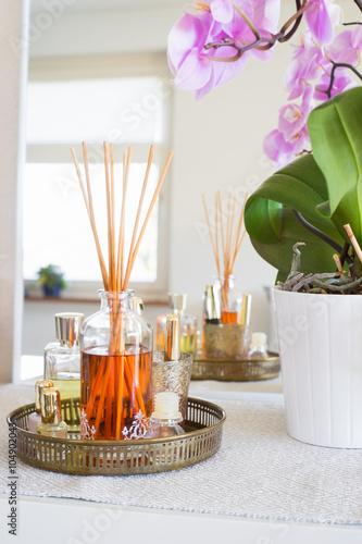 Fotografía  Difusor de aroma de caña en el interior casero
