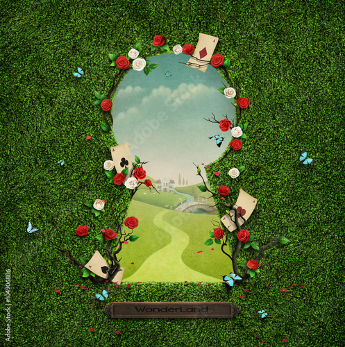 Beautiful green background with roses and cards in keyhole Wallpaper Mural