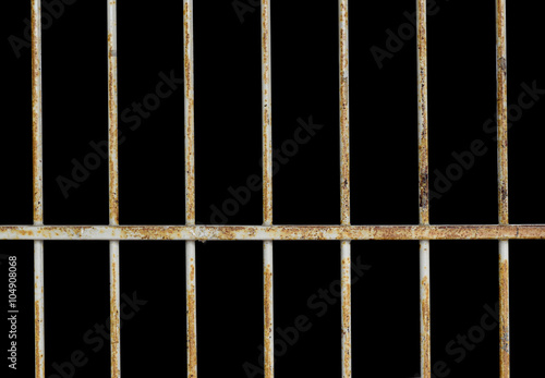 Fotografia, Obraz  Steel Cage have rust isolate on black background