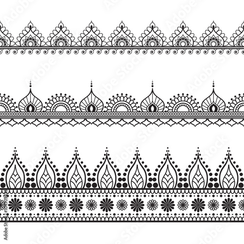 Border line lace mehndi elements in Indian style for card and tattoo isolated on white background.