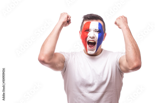 Photo  Happy screaming  France football fan of fortune win of the match of France national  team