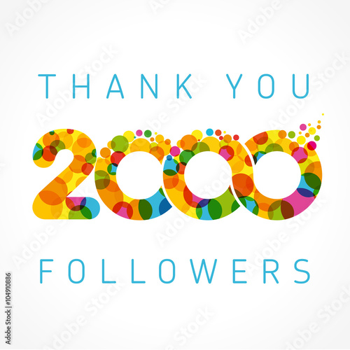 Poster Thank you 2000 followers color numbers