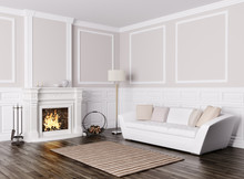 Classic Interior Of Living Room With Sofa And Fireplace 3d Rende