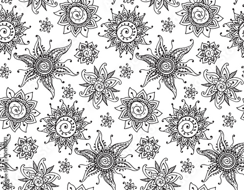 Vector Seamless Pattern With Hand Drawn Henna Mehndi Sun Buy This