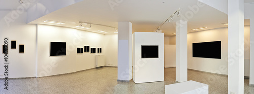 Fotografía  Panoramic view of a Exhibition gallery with museum style lightin