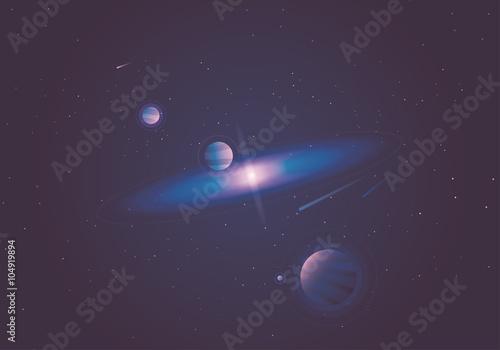 Fotografia, Obraz  Beautiful majestic minimal vector illustration of universe with milky way, stars