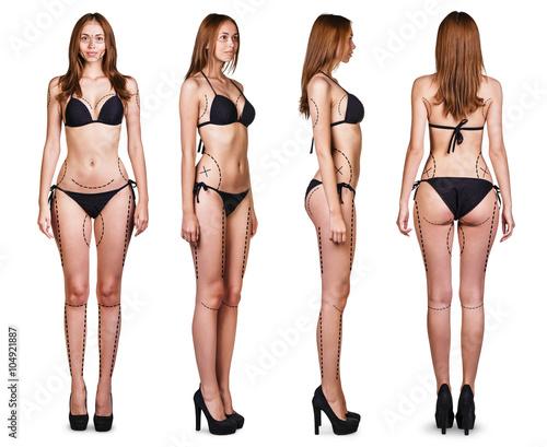 Fototapeta Woman body with correction lines obraz na płótnie