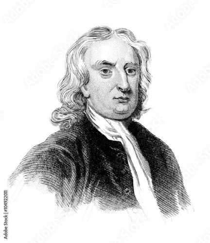 Fotografie, Obraz  An engraved vintage illustration portrait image of Sir Isaac Newton the famous E