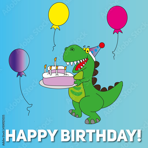 Happy Birthday Card T Rex Dinosaur