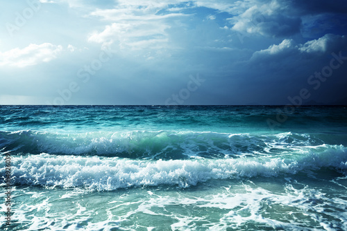Poster Eau waves at Seychelles beach