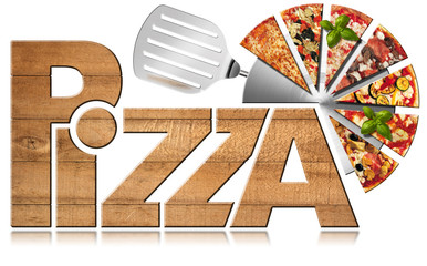 FototapetaPizza - Wooden Symbol with Slices of Pizza / Wooden icon or symbol with text Pizza, stainless steel pizza cutter and slices of pizza. Isolated on a white background