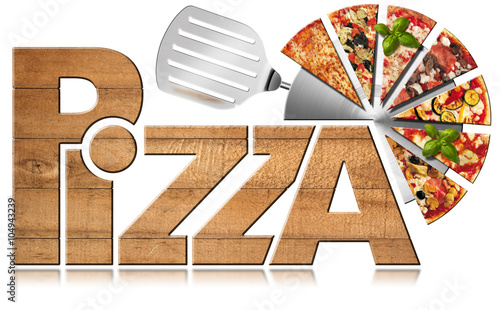 Pizza - Wooden Symbol with Slices of Pizza / Wooden icon or symbol with text Pizza, stainless steel pizza cutter and slices of pizza. Isolated on a white background - 104943239