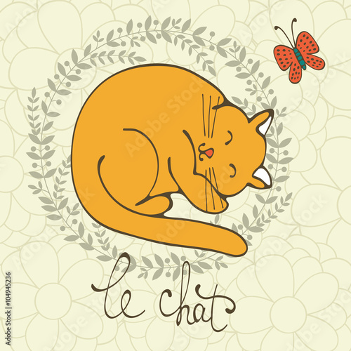 Photo  Cute cat character illustration with french lettering of cat word , Le Chat mean