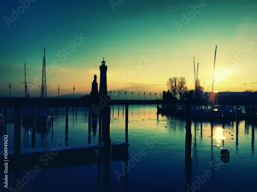 Poster de jardin Paris Sunset at the marina of Lindau