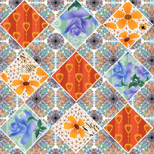 Seamless Flowers Pattern Patchwork Background