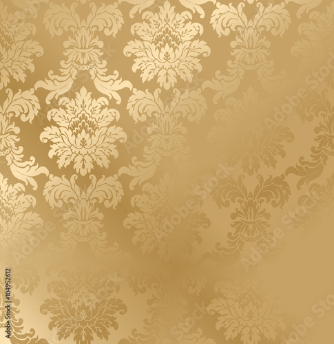 Fotografía  Vector baroque seamless damask golden texture