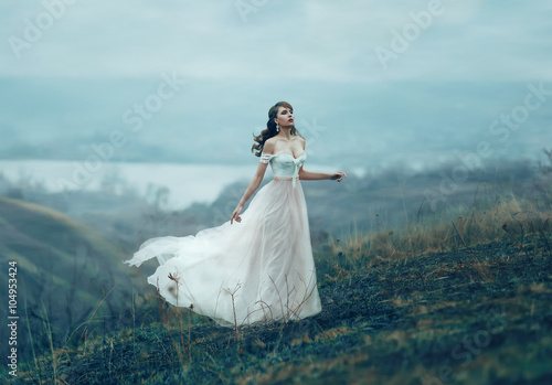Fotografia  The girl in transparent dress with long flying pastel train stands on the top of