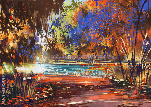 Poster Corail beautiful autumn landscape with flowers and lake