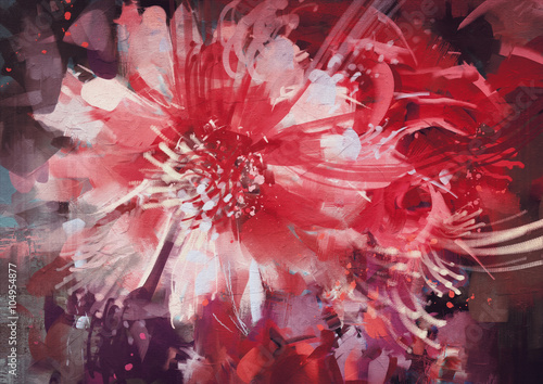 Juliste  beautiful autumn flowers,old painting style