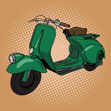 Scooter Pop Art Style Vector Illustration