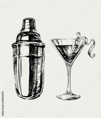 Fotografia  Sketch Cosmopolitan Cocktails and Shaker Vector Hand Drawn Illustration