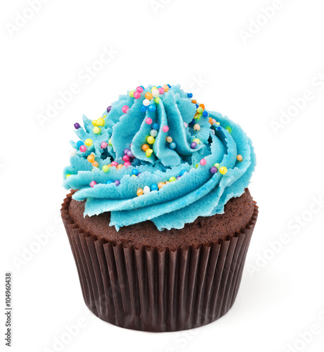 chocolate cupcake with blue buttercream isolated on white Canvas Print