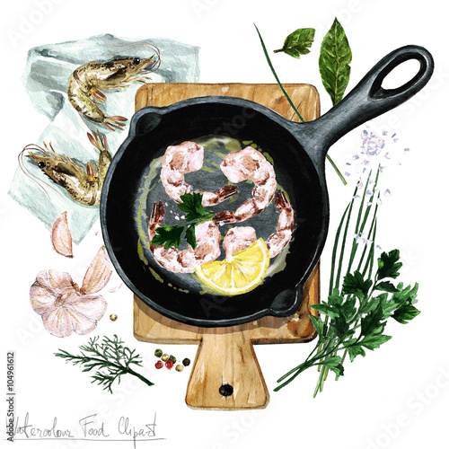 Door stickers Watercolor Illustrations Watercolor Food Clipart - Shrimp on a frying pan