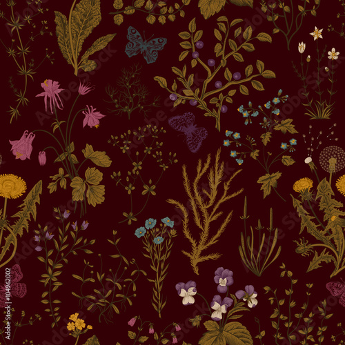 Foto  Vector vintage seamless floral pattern