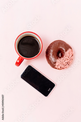 Fototapeta breakfast with donuts , taking photo obraz na płótnie