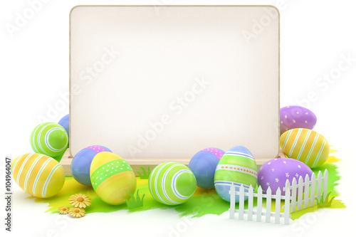 Fototapeta Easter eggs and blank card obraz