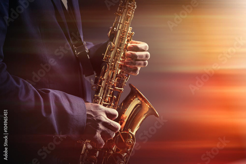 African American jazz musician playing the saxophone, closeup Canvas Print