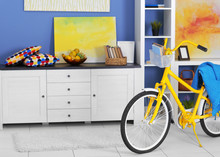 Yellow Bicycle With Blue Cover...