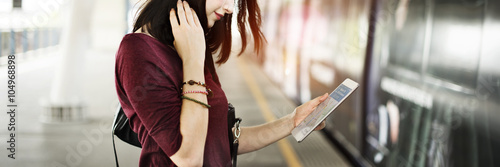 Woman Digital Tablet Trip Transportation Traveling Concept