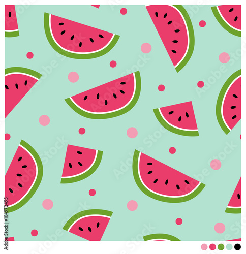 Cute seamless vector pattern with watermelons and dots.