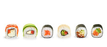 Sushi Rolls Isolated On White ...