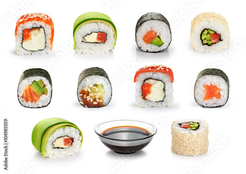 Foto op Aluminium Sushi bar Sushi rolls and soy sauce isolated on white background.