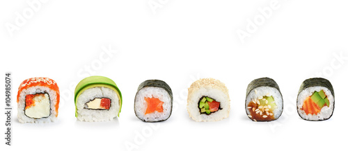 Poster de jardin Sushi bar Sushi rolls isolated on white background.