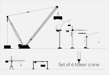 Set Of Tower Cranes For Industrial Use / Set Of Six Tower Cranes (high-contrast Silhouette)