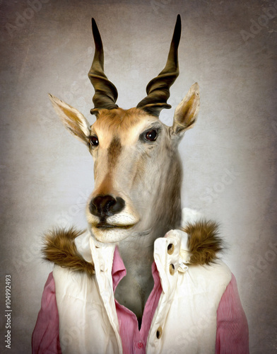 Foto op Canvas Hipster Dieren Goat in clothes. Digital illustration in soft oil painting style