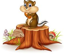 Cartoon Chipmunk Holding Peanut On Tree Stump