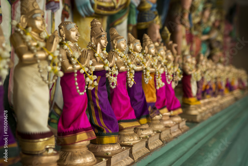 Small figurines in a Hinduism temple.