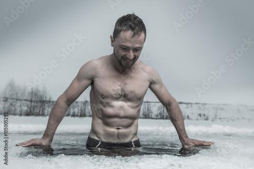 Valokuva  Ice hole swimming